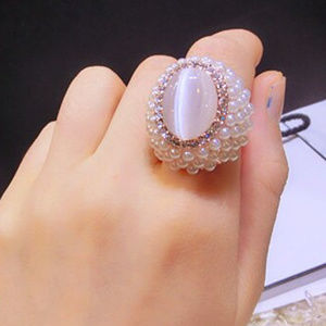 Pearl Ring for Women Silver Oval CatEye Stone